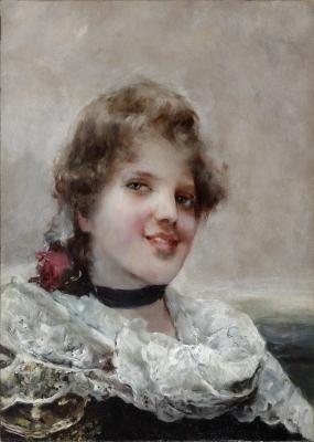 """""""Retrato femenino"""" Escuela francesa de finales del siglo XIX."""
