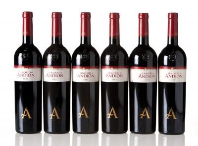 Seis botellas de Señorío de Andión 2001.