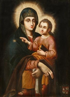 """""""Virgen con el Niño Jesús"""" Escuela española, s.XVII."""