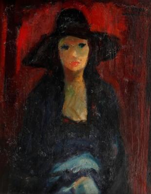 "SUÑER, Francesc (Barcelona, 1922 – 1994).""Retrato (Carnaval de Sitges)"", 1978."