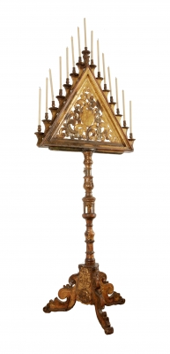 Baroque candelabra, Spain, 17th century.Carved and gilded wood.