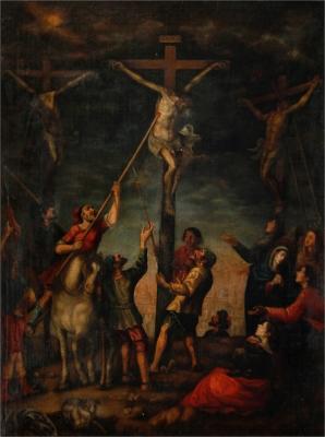 """Castilian School, 17th century.""""Cristo crucificado recibiendo el lanzazo en el costado""""."""