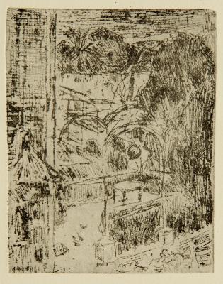 """Lot: 30183409 MIR TRINXET, Joaquín (Barcelona, 1873 – 1940).""""Paisaje con palmeras""""."""