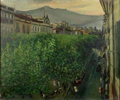 "COMMELERAN CARRERA, Joan (Barcelona, 1902 – 1992).""La Rambla"", 1945."