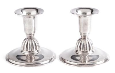 Pareja de candeleros de plata; España, finales del siglo XX.