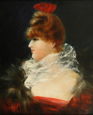 """""""Retrato de dama"""" Escuela francesa de finales del siglo XIX."""