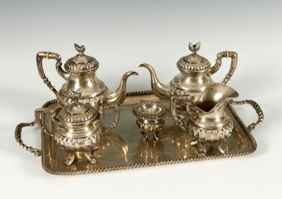 Juego de café y té en plata. España, c.