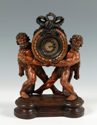 Porta reloj del siglo XIX. Madera tallada y policromada
