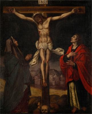 """""""Crucifixión con la Virgen y Juan Evangelista"""" Escuela"""